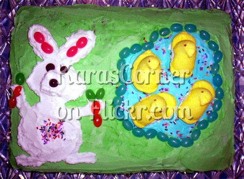 Easter Bunny and Peep Pond Cake