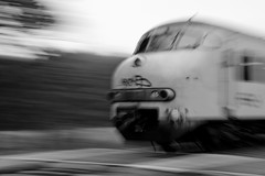 Fast moving train (Dave Heuts) Tags: light blackandwhite bw white david black dave train licht movement nederland railway nl zwart wit available trein spoorwegen beweging daveheuts heuts