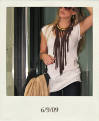 diy jersey fringe necklace, vintage gold plate necklace, gold hoops, marc by marc jacobs handbag, pashmina, forever 21, heritage knit tunic, J Brand lovestory jeans, Tom Ford sunglasses, pour la victoire platform pumps, 6-9