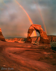 Perfect Curves (elliot23) Tags: park travel light sunset usa storm weather clouds canon utah amazing rainbow arch state hiking arches double explore national 5d delicate lpbest2009