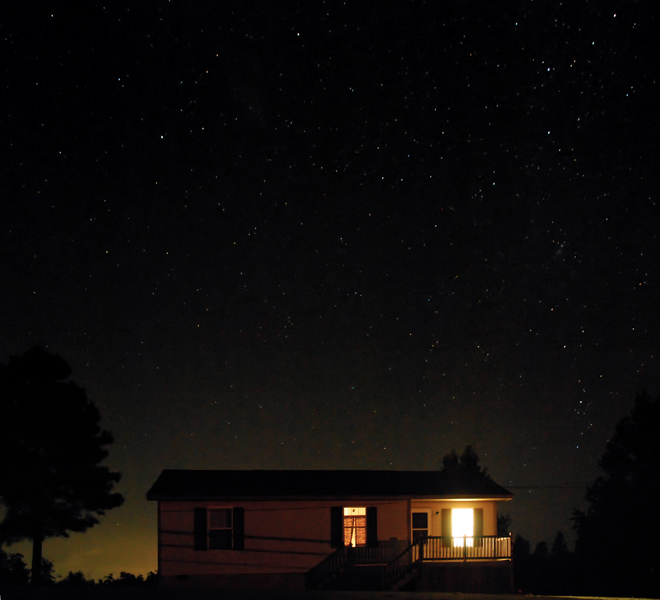 Little house under the starry sky