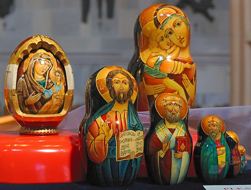 Hand painted wood eggs, made in Ukraine, from the collection of the Marianum, photographed at the Cathedral of Saint Peter, in Belleville, Illinois, USA