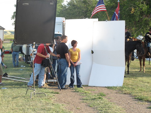 On-camera talent wait for action and the 7th Cavalry riders are on stand-by.
