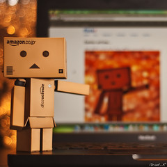 Danbo had a few questions... (Grant_R) Tags: apple photoshop square toy 50mm mac nikon flickr raw bokeh figure acr f18 japanesetoy cs4 danbo d90 niftyfifty macbook revoltech nikonf1850mm nikond90 danboard grantr