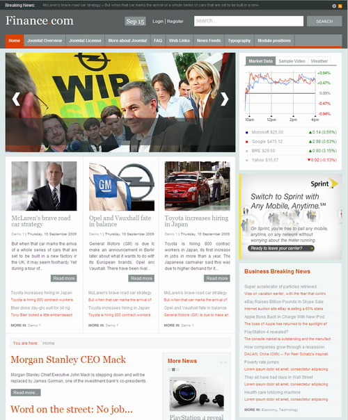 Finance   September 09 Joomla Template