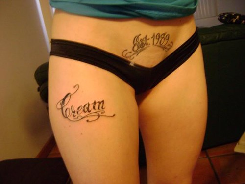Tattoo Text on Women Belly