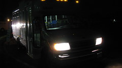 First Transit 2001 Ford paratransit bus # 5580  at 6:00 AM. Glenview Illinois. October 2009.