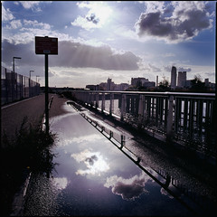 Resolve (sixbysixtasy) Tags: uk autumn cloud sun colour london 6x6 film water fuji greenwich slide hasselblad chrome analogue sillhouette contrejour afterrain thamespath cloudburst astia distagon hasselblad500cm autaut