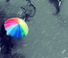It's snowing! (ShanLuPhoto) Tags: china blue autumn winter snow fall home bike bicycle umbrella rainbow beijing 北京 中国 flakes 冬天 雪 impressionist 彩虹 雨伞 雪花 loolooimage
