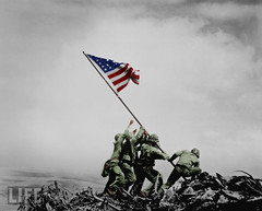 Raising the Flag (Mark Jaxn) Tags: world life color us war flag united navy battle mount ii lifemagazine colored marines states 1945 suribachi iwo jima raising february23 markjackson corpsman lifeincolor sweetselectivecolor markjaxn jaxnphotography