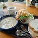 Loaf & Ladle Restaurant, Exeter NH: Potato pesto soup, veggie burger, amandana & sourdough breads