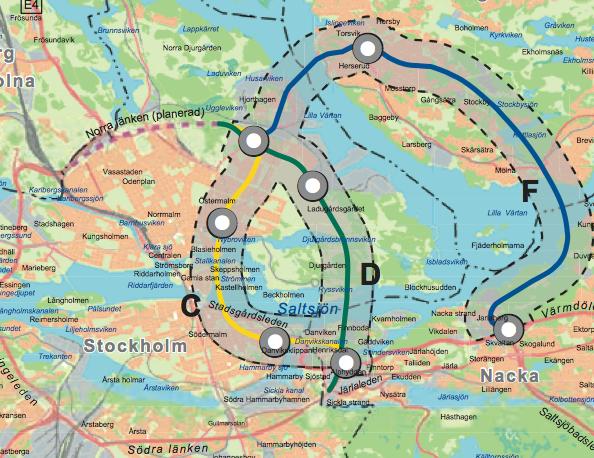 tvärbanan utbyggnad karta Utbyggnad av TUB 3: De åttio alternativen   YIMBY Stockholm tvärbanan utbyggnad karta