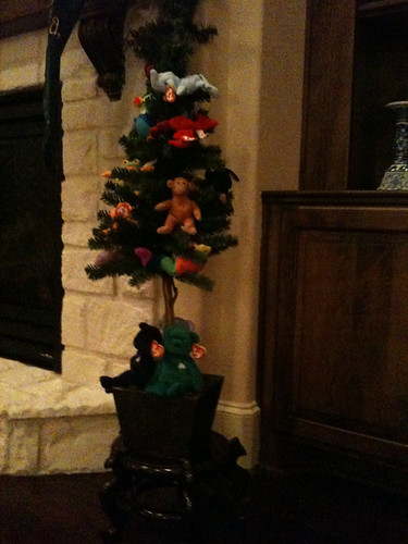 Aston's beanie baby Christmas tree
