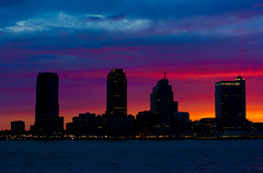 Deep Blue, and Red. (TomBrooklyn) Tags: nyc newyorkcity ny skyline jerseycity nj nikkor50f14