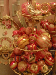 Vintage pink christmas ornaments by eg2006