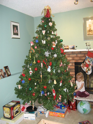 Hannah replaces an ornament in 2007