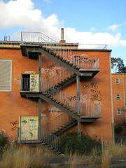Stairs (mikecogh) Tags: stairs graffiti memories ruin relatives wreck zigzag dilapidated institution homeforincurables juliafarrcentre