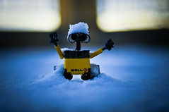 Wall-E love the snow !!! (Martin i'm back !!!!!! (from australia)) Tags: nyc blue wedding snow france sol night french 50mm town nikon long exposure riviera dof martin bokeh tag south ground disney bleu pixar neige nikkor  vence walle dorigny hbw oldschooldigital mignature d300s