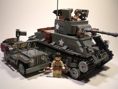 M4A3E8 Sherman Tank Comparison with Rifleman & Willys Jeep (PhiMa') Tags: lego wwii ww2 m4 worldwar2 allies shermantank alliedexpeditionaryforces mediumtank willysmbjeep
