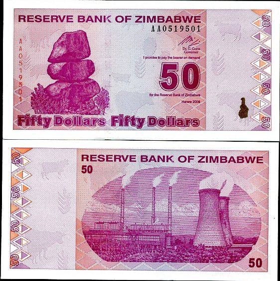 50 dolárov Zimbabwe 2009