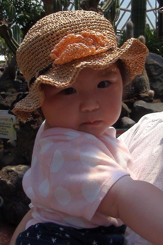 Miyu with a hat, knitted by her grandmother