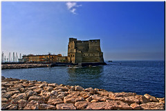 The Castle in the Middle of the Sea (krisdecurtis) Tags: sea sky italy panorama seascape building architecture canon buildings spectacular landscape italia 300d campania canon300d explore kris napoli naples frontpage 2009 paesaggio masterpiece santalucia casteldellovo marvels maddaloni napule meraviglie slucia krisdecurtis