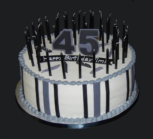 black and gray 45th birthday with 45 candles