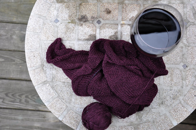 wine and knitting
