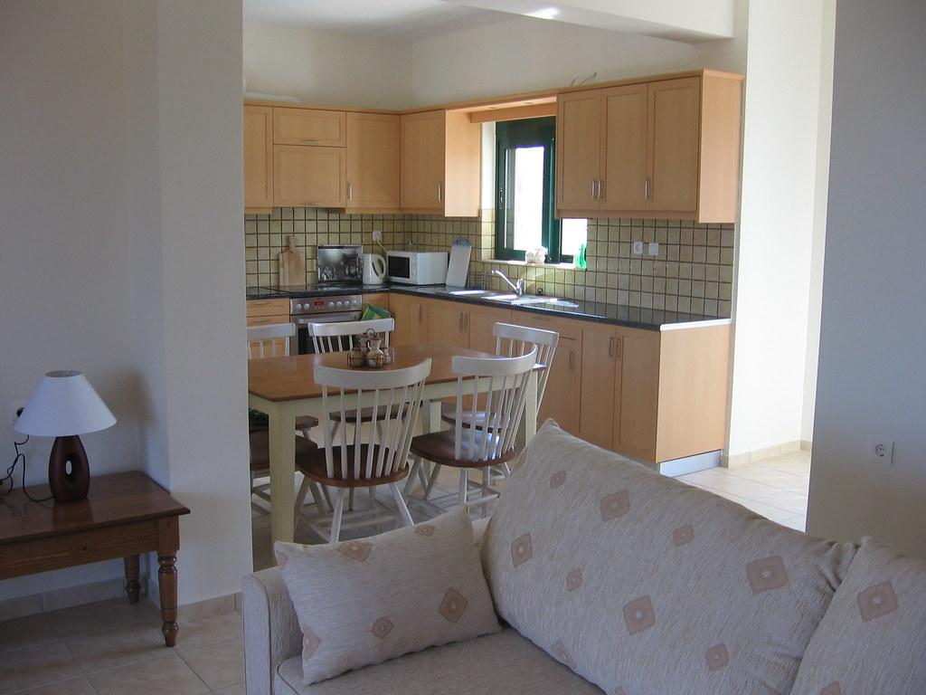 Living Area and Kitchen at Thexia Villa, Crete