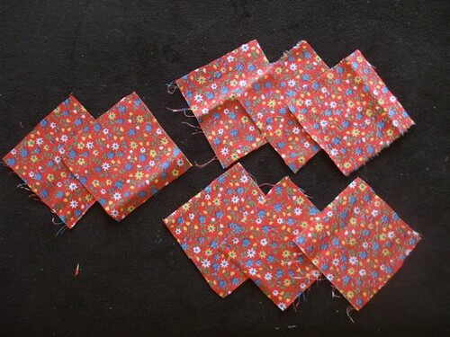 my fabric squares ready to go