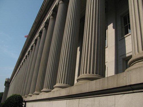 colonnade on east side of treasury department