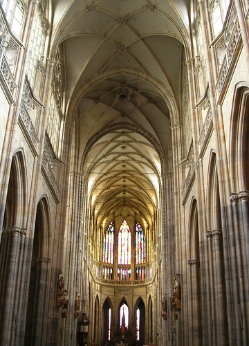 Vaulted Ceilings Inside St Vitus Cathedral Gothic Architecture Prague Castle
