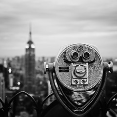 Turn To Clear Vision (Philipp Klinger Photography) Tags: new york city nyc travel light shadow vacation sky bw usa white ny black reflection building texture rock metal architecture clouds america circle evening us blackwhite nikon theater dof state theatre bokeh top circles distric