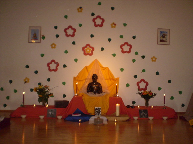 Shrine for Bhante's Birthday Puja 2009