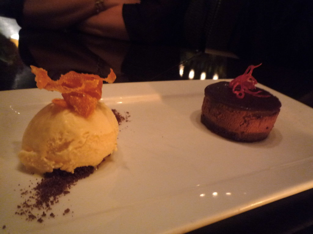 Chocolate palm sugar caramel delice with blood orange ice cream