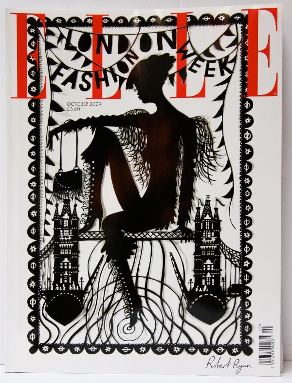 Robert Ryan papercut Elle cover