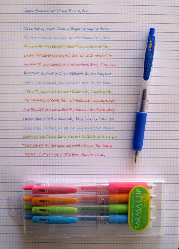 Review Zebra Sarasa Clip 0 4mm 5 Color Pack The Pen Addict