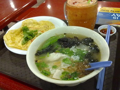 Fish Porridge, Omelette, and Vegetable Juice