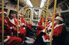 The night I thought all my Christmases had come at once (deepstoat) Tags: santa xmas film 35mm underground tube yashicat5 fatherchristmas autaut dec25th deepstoat