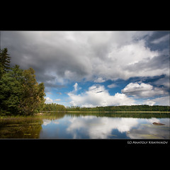 Quiet noon |   (Anatoly Kraynikov) Tags: sky cloud lake reflection tree forest finland landscape august reflexions soe   weter  kukkia  puutikkala    hamelinna yourwonderland