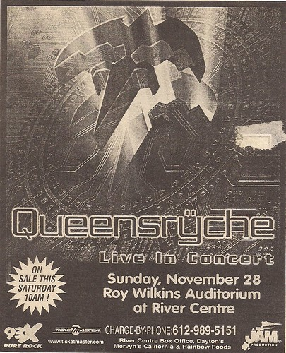 11/28/99 Queensryche/DoubleDrive @ St. Paul, MN (Ad)
