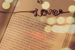 To Write Love on Her Arms (Sarah Ching) Tags: pink love home gold book necklace words wire close purple bokeh circles tint chain story sentence daze trisarahhtops
