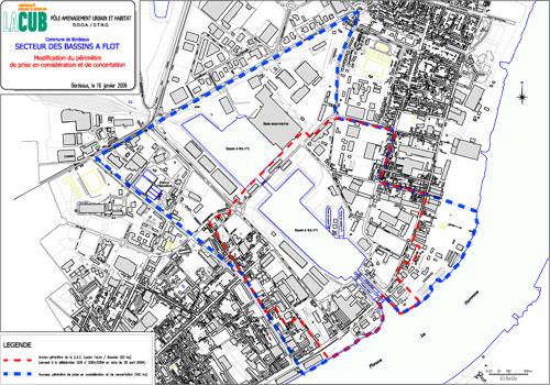 Délimité en bleu, le nouveau périmètre de concertation du quartier. Crédit : CUB.