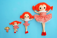 Misfit Dollies (boopsie.daisy) Tags: christmas cute set toys island four big doll dolls sweet small 4 group mini plush redhead gingham misfit medium tribute dollies