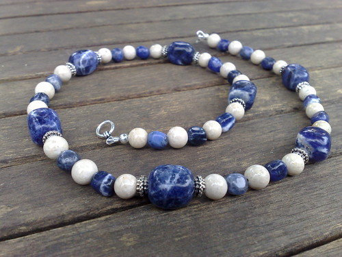 Sodalite and riverstone necklace