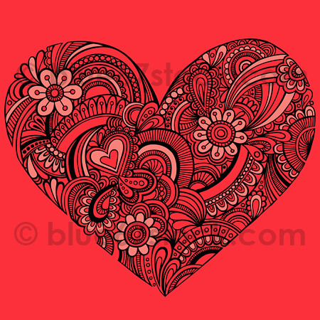 Hand-Drawn Henna Paisley Heart Tattoo Doodle Seamless Repeat Pattern Vector
