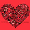 Hand-Drawn Henna Paisley Heart Tattoo Doodle Seamless Repeat Pattern Vector by blue67