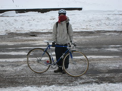 On my way to Kelly's for cookie baking (Low) Tags: winter snow bike bicycle scarf helmet minneapolis fenders redscarf bottecchia bottecchiaspecial