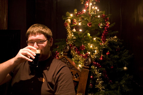 Enjoying an ale in Guy Fawkes