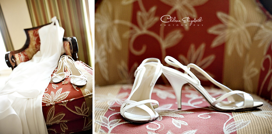 white wedding dress and high heels details image